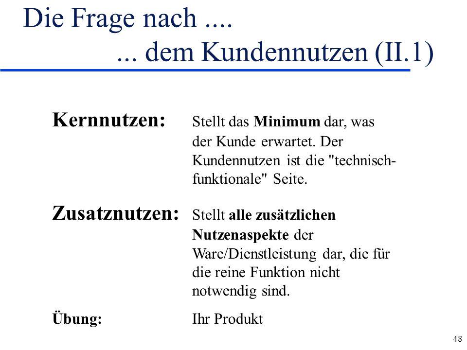 Die Frage nach .... ... dem Kundennutzen (II.1)