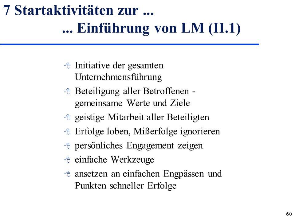 7 Startaktivitäten zur ... ... Einführung von LM (II.1)