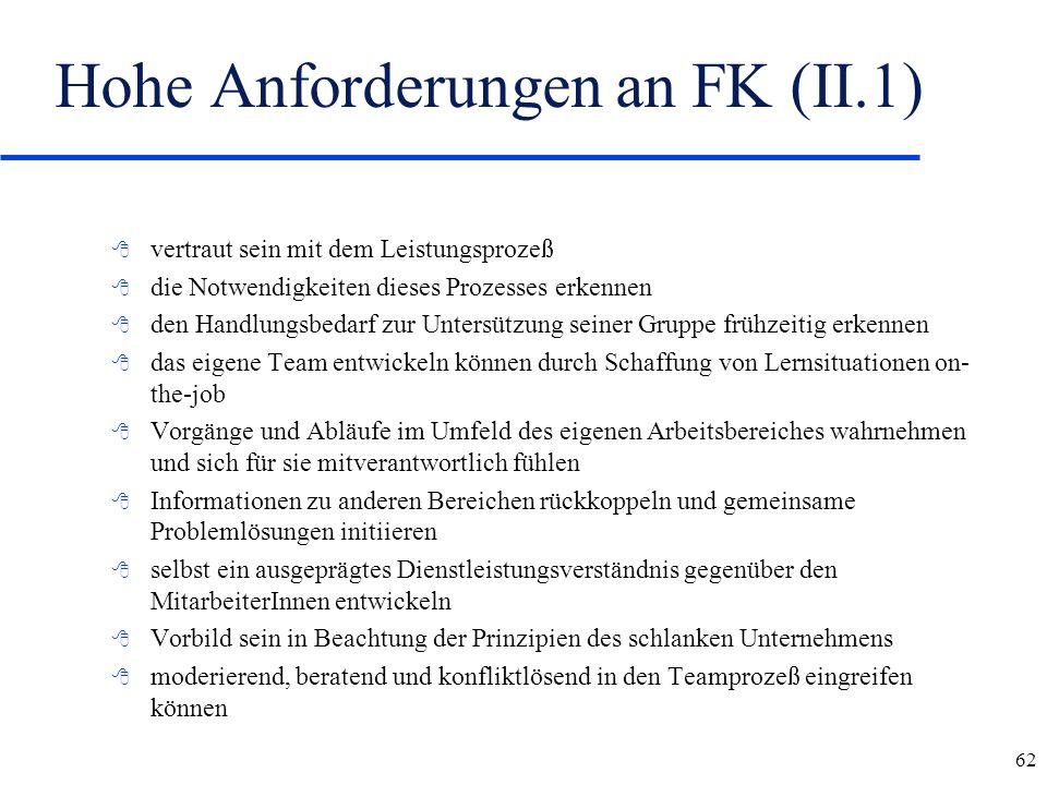 Hohe Anforderungen an FK (II.1)