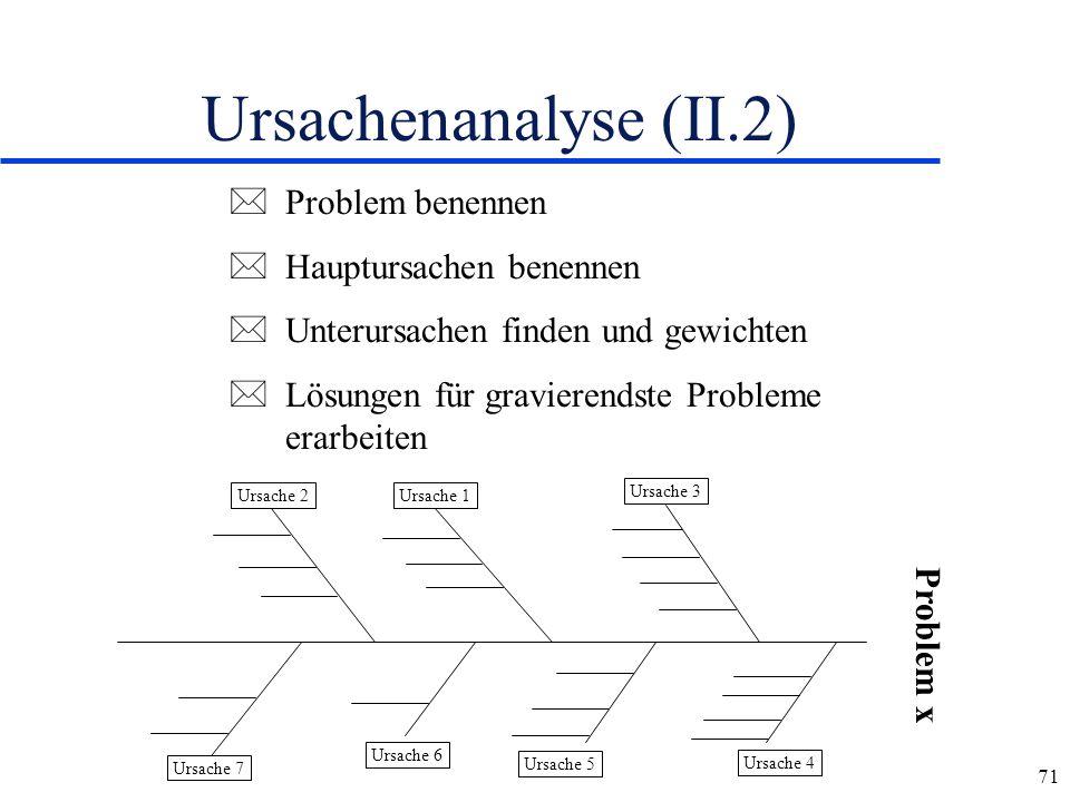 Ursachenanalyse (II.2) Problem benennen Hauptursachen benennen