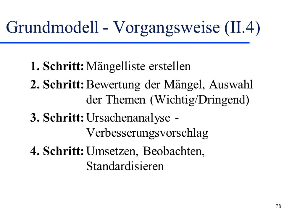Grundmodell - Vorgangsweise (II.4)