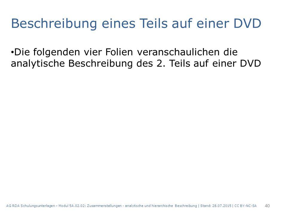 Beschreibung eines Teils auf einer DVD