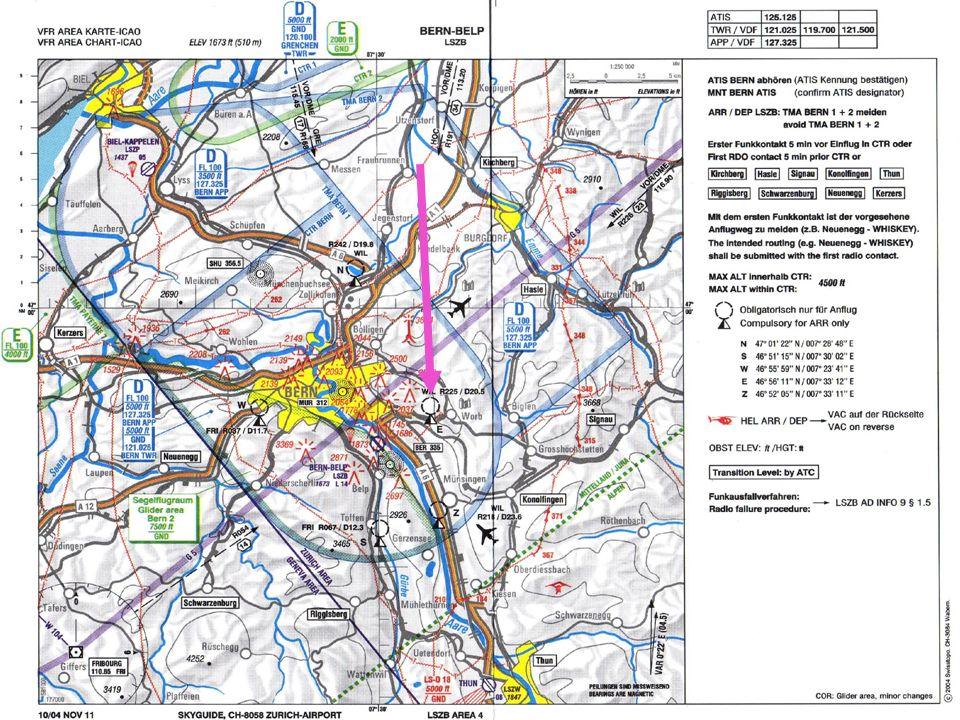 Beispiel einer Orientierung am Beispiel des Flugplatzes Bern: Einflug via Punkt Echo zur Piste 32.
