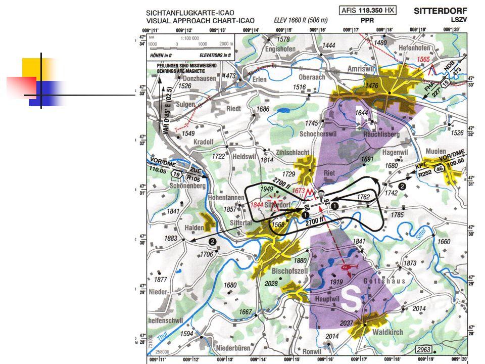 Orientierung Sitterdorf: Auf der Karte sind zwei Radials von VOR eingezeichnet: R105 von ZUE, R252 von KPT.