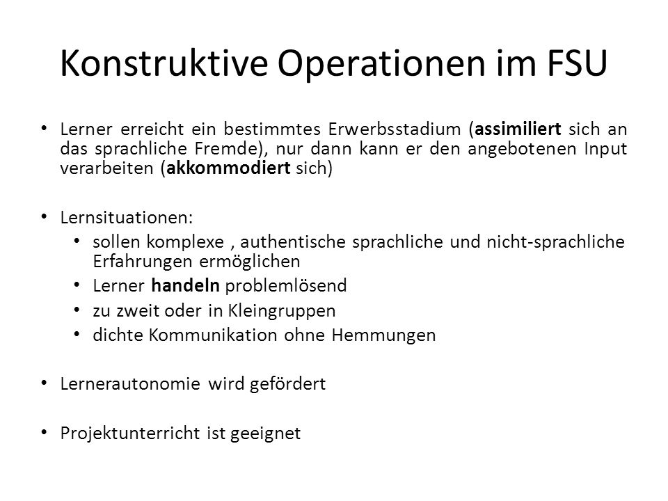 Konstruktive Operationen im FSU