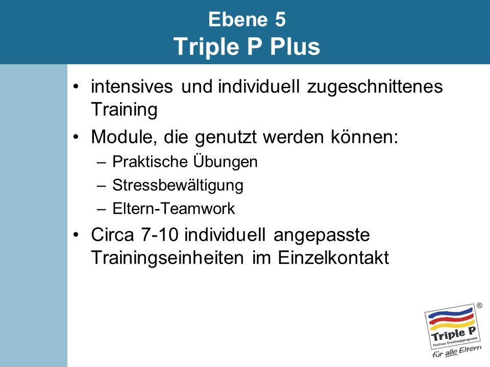Ebene 5 Triple P Plus intensives und individuell zugeschnittenes Training. Module, die genutzt werden können: