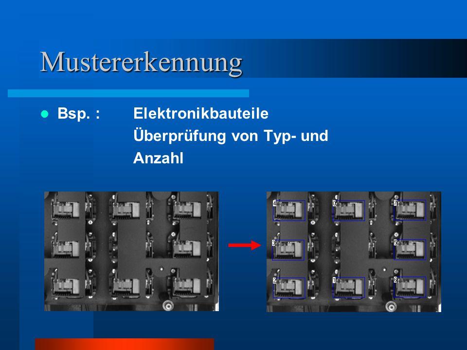 Mustererkennung Bsp. : Elektronikbauteile Überprüfung von Typ- und
