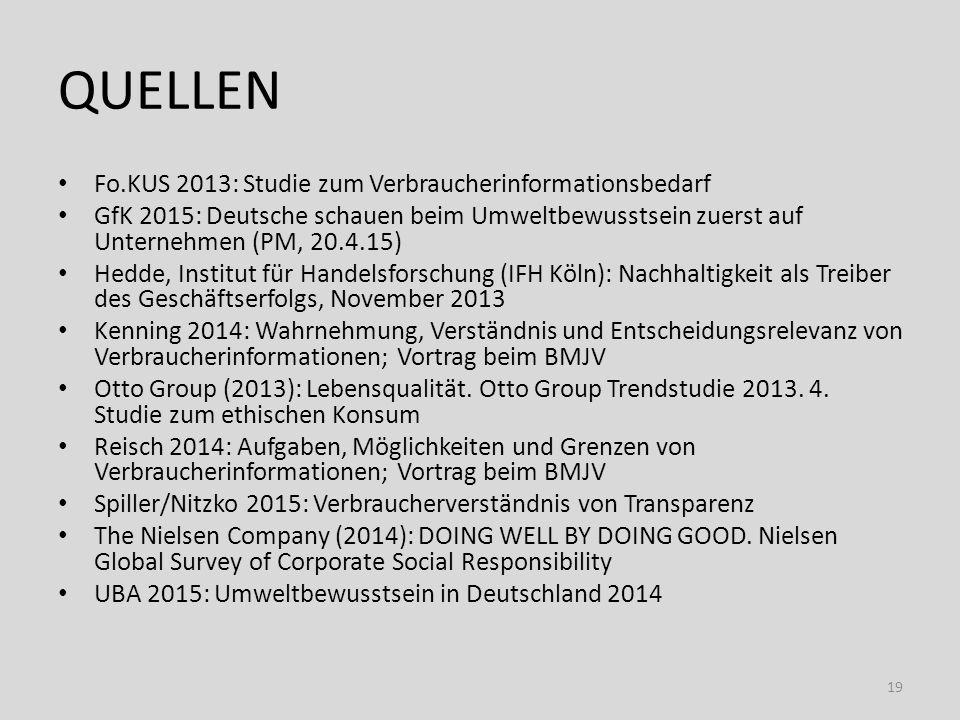 Quellen Fo.KUS 2013: Studie zum Verbraucherinformationsbedarf