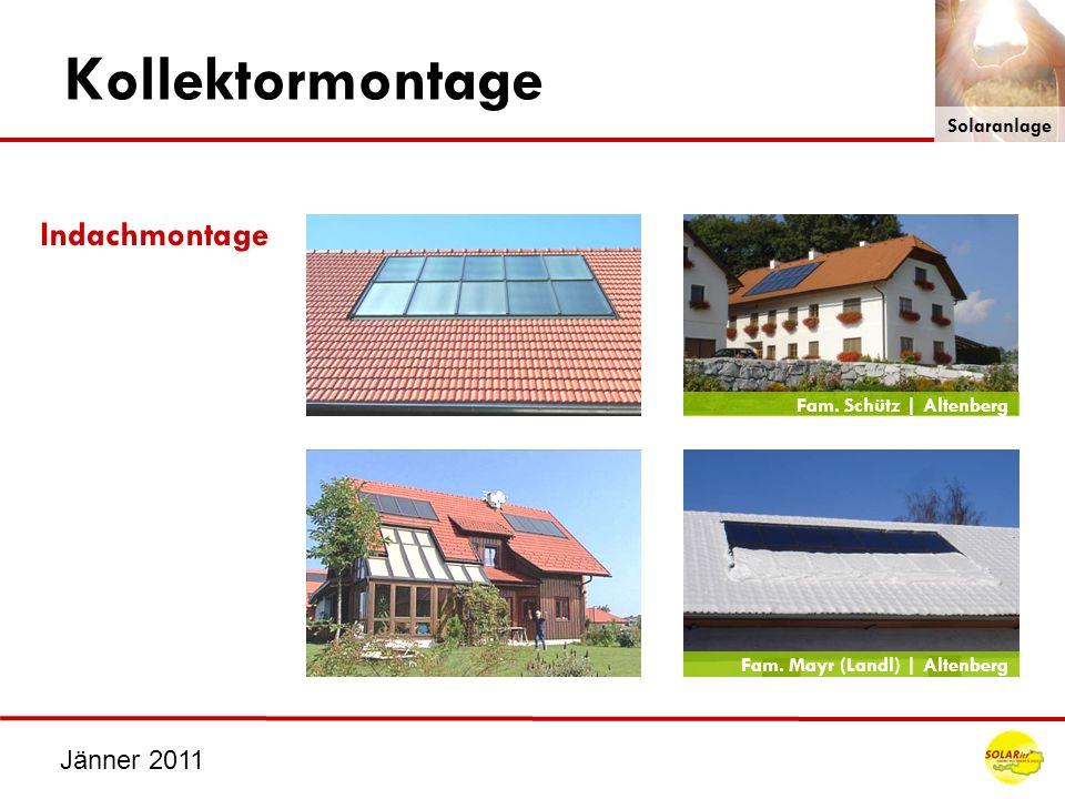 Kollektormontage Indachmontage Jänner 2011 Solaranlage