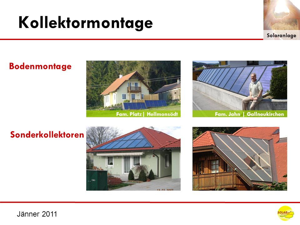 Kollektormontage Bodenmontage Sonderkollektoren Jänner 2011