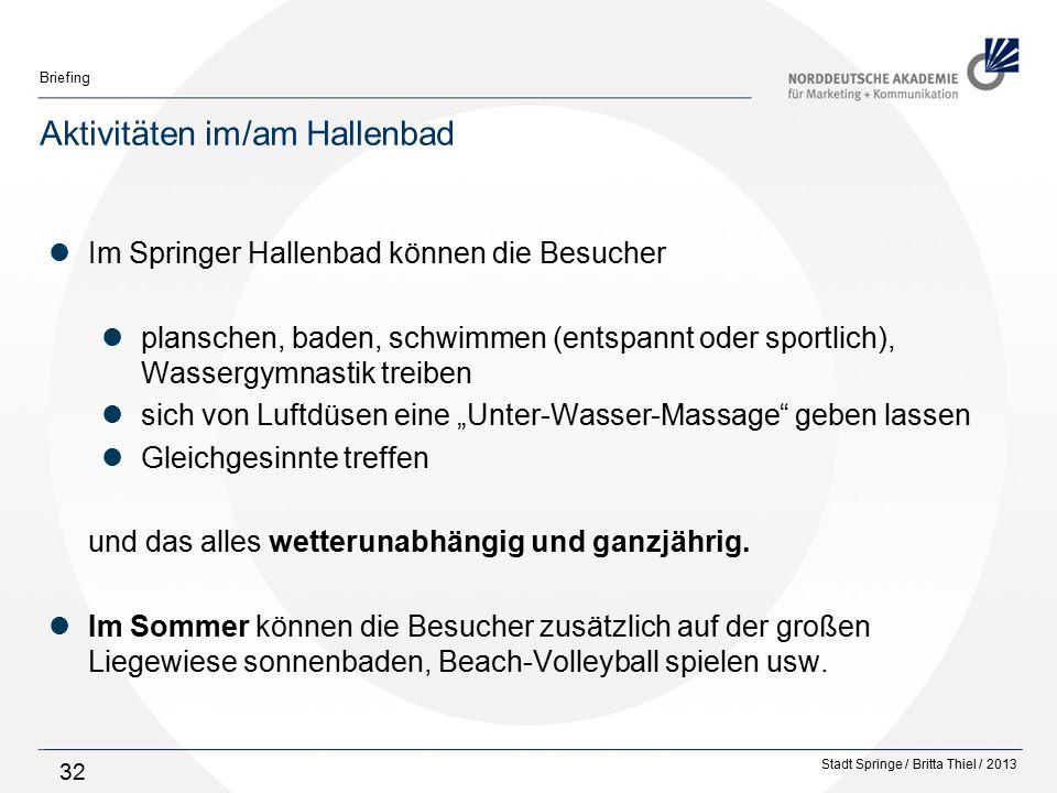 Aktivitäten im/am Hallenbad