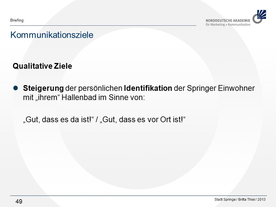 Kommunikationsziele Qualitative Ziele