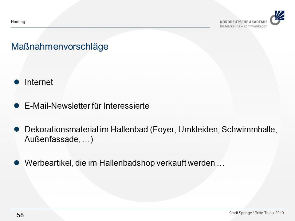 Maßnahmenvorschläge Internet E-Mail-Newsletter für Interessierte