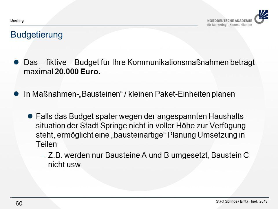 Budgetierung Das – fiktive – Budget für Ihre Kommunikationsmaßnahmen beträgt maximal 20.000 Euro.