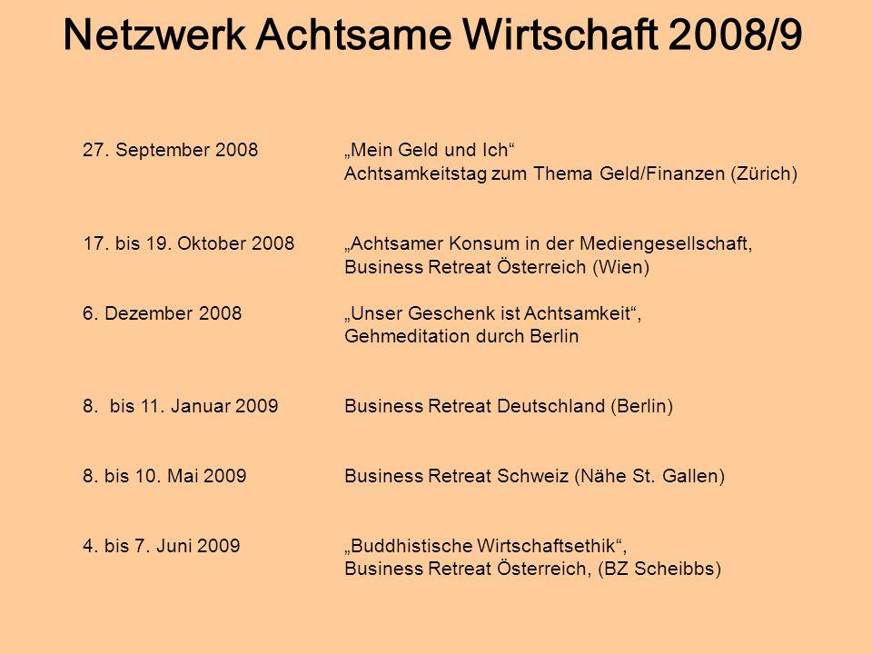 Netzwerk Achtsame Wirtschaft 2008/9
