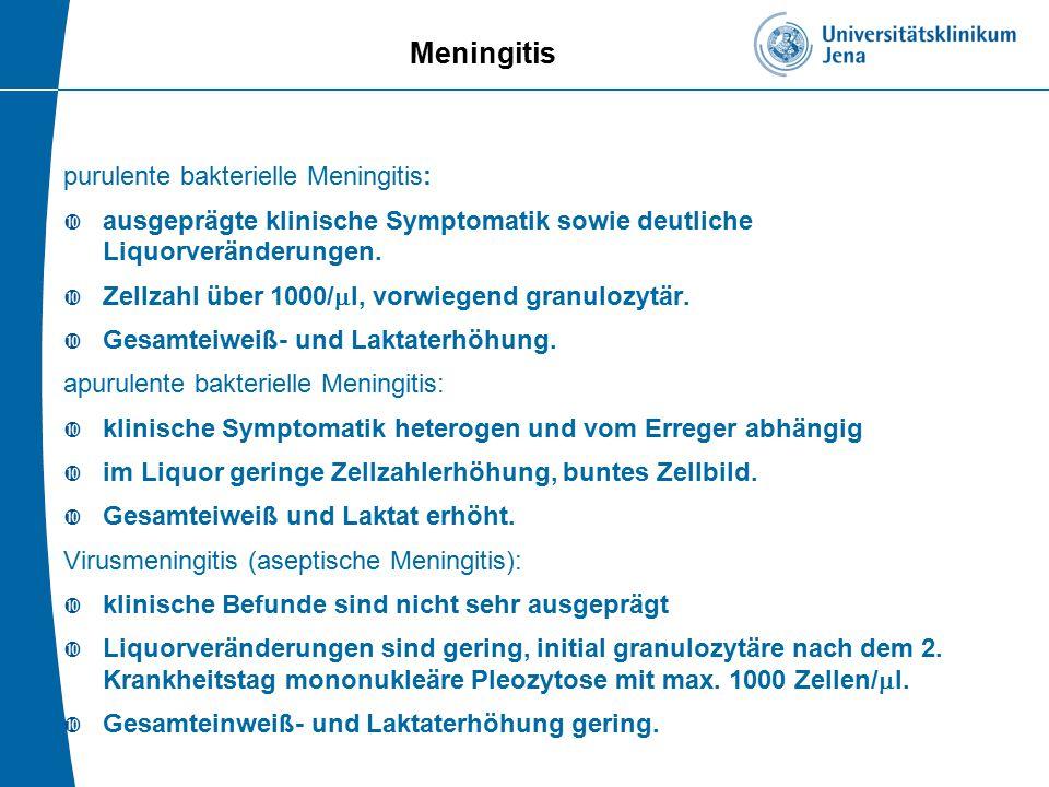 Meningitis purulente bakterielle Meningitis: