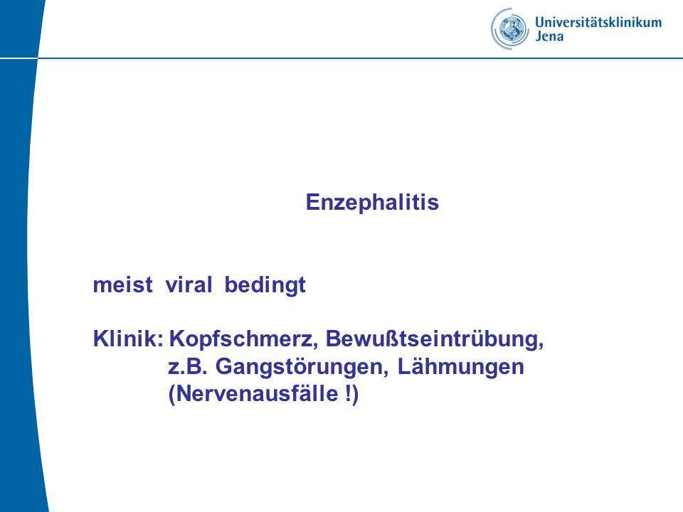 Enzephalitis meist viral bedingt Klinik: Kopfschmerz, Bewußtseintrübung, z.B.