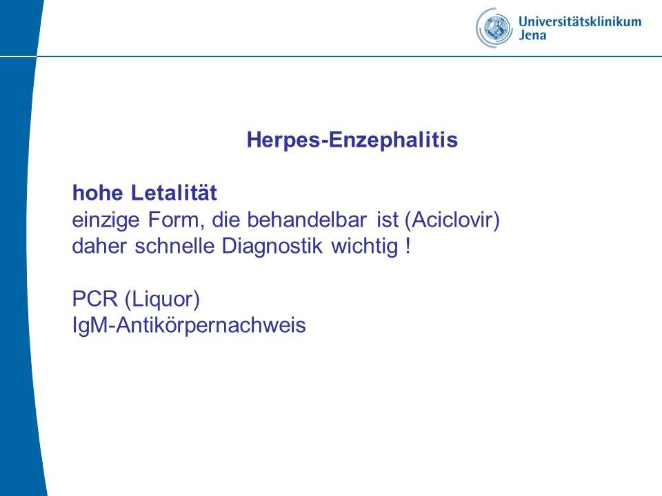 Herpes-Enzephalitis hohe Letalität einzige Form, die behandelbar ist (Aciclovir) daher schnelle Diagnostik wichtig .