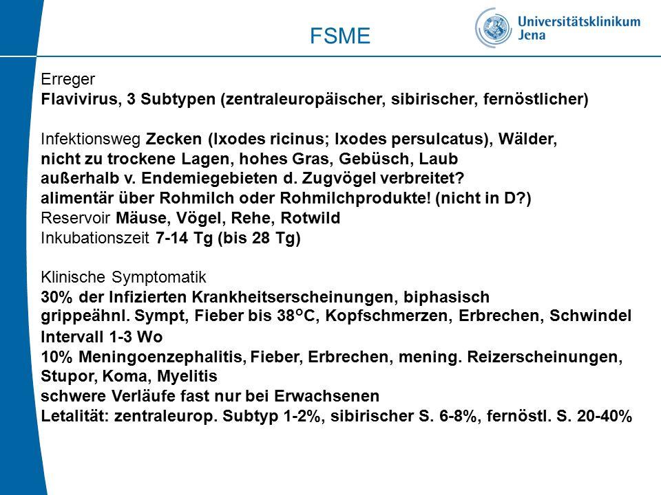 FSME Erreger. Flavivirus, 3 Subtypen (zentraleuropäischer, sibirischer, fernöstlicher)