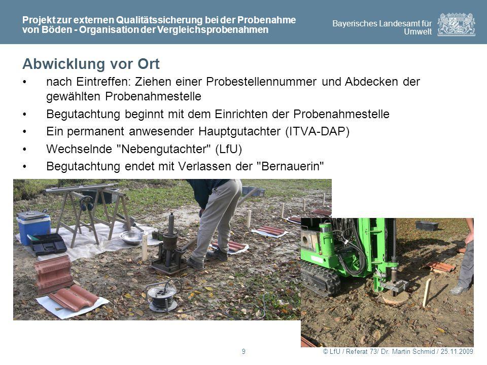 Projekt zur externen Qualitätssicherung bei der Probenahme von Böden - Organisation der Vergleichsprobenahmen