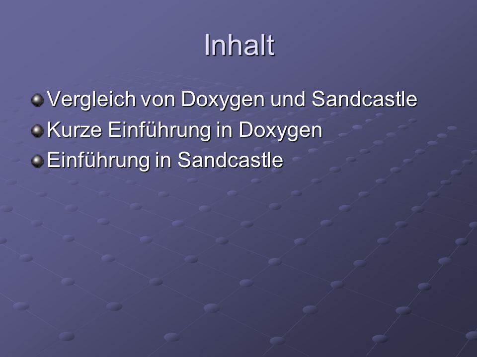 Inhalt Vergleich von Doxygen und Sandcastle