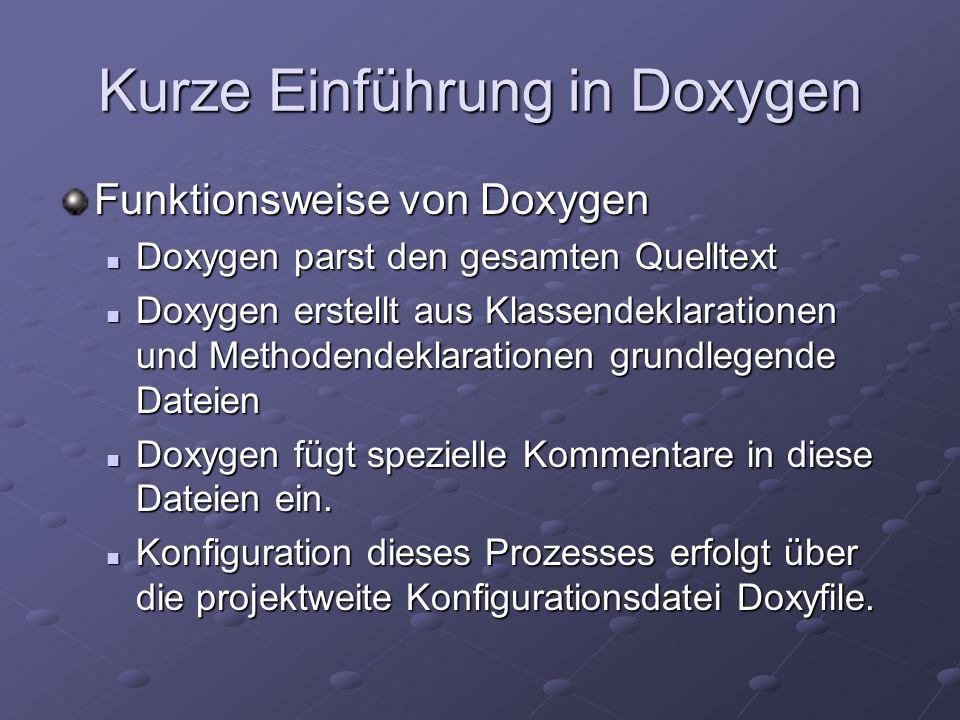 Kurze Einführung in Doxygen