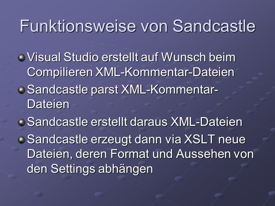 Funktionsweise von Sandcastle