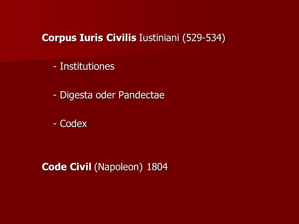 Corpus Iuris Civilis Iustiniani (529-534)
