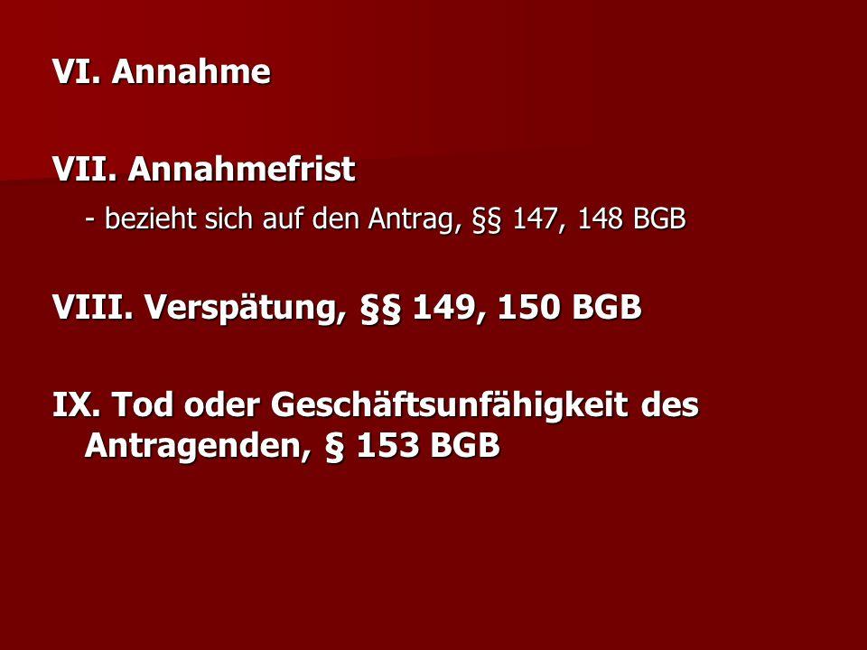 VI. Annahme VII. Annahmefrist. - bezieht sich auf den Antrag, §§ 147, 148 BGB. VIII. Verspätung, §§ 149, 150 BGB.