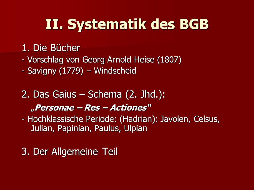II. Systematik des BGB 1. Die Bücher 2. Das Gaius – Schema (2. Jhd.):