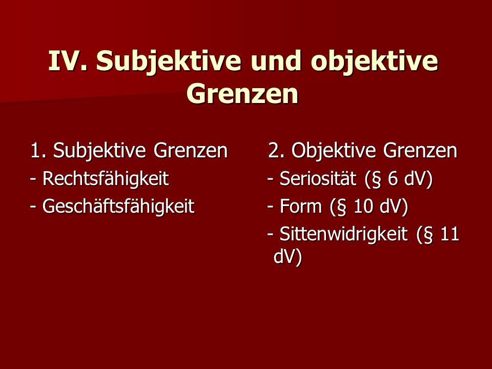 IV. Subjektive und objektive Grenzen