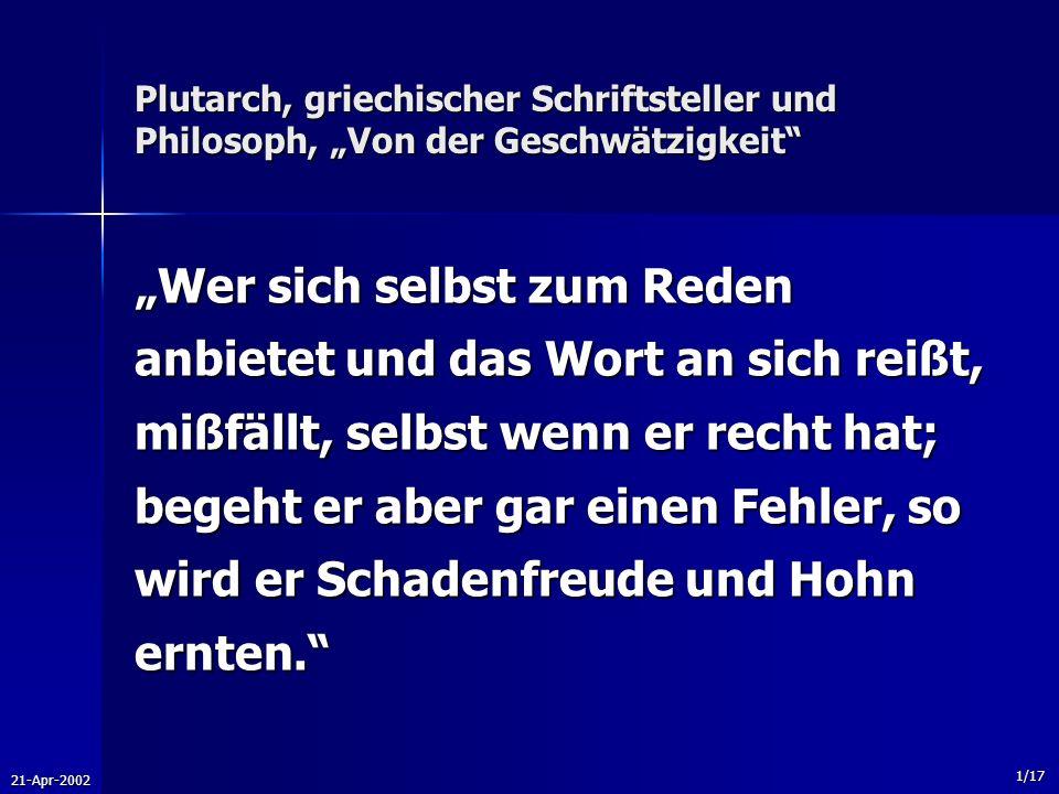 """Plutarch, griechischer Schriftsteller und Philosoph, """"Von der Geschwätzigkeit"""
