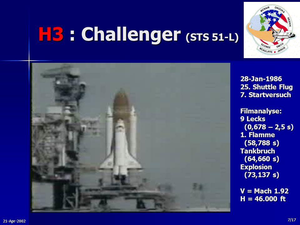 H3 : Challenger (STS 51-L) 28-Jan-1986 25. Shuttle Flug