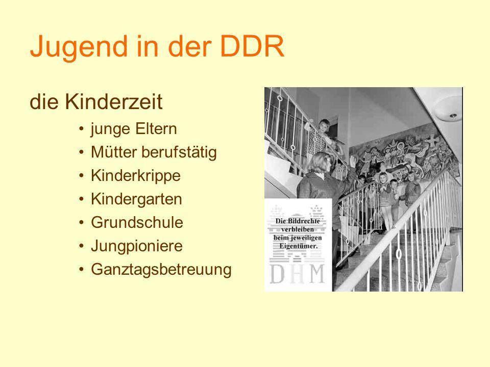 Jugend in der DDR die Kinderzeit junge Eltern Mütter berufstätig