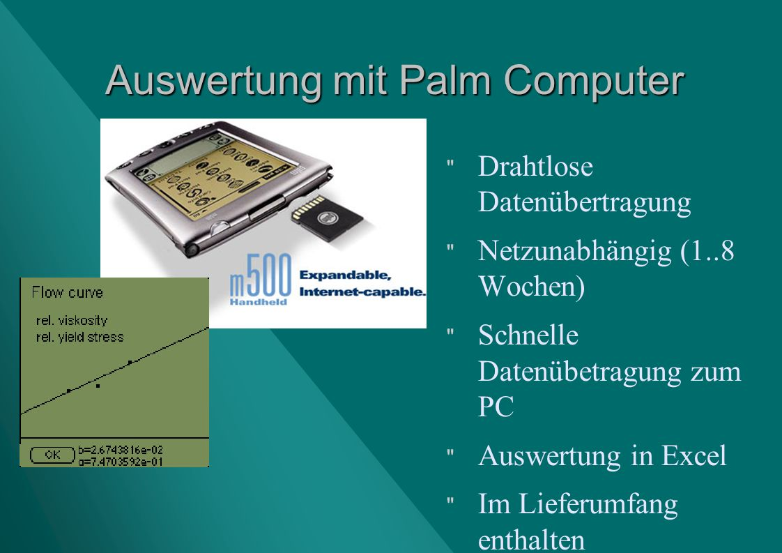 Auswertung mit Palm Computer