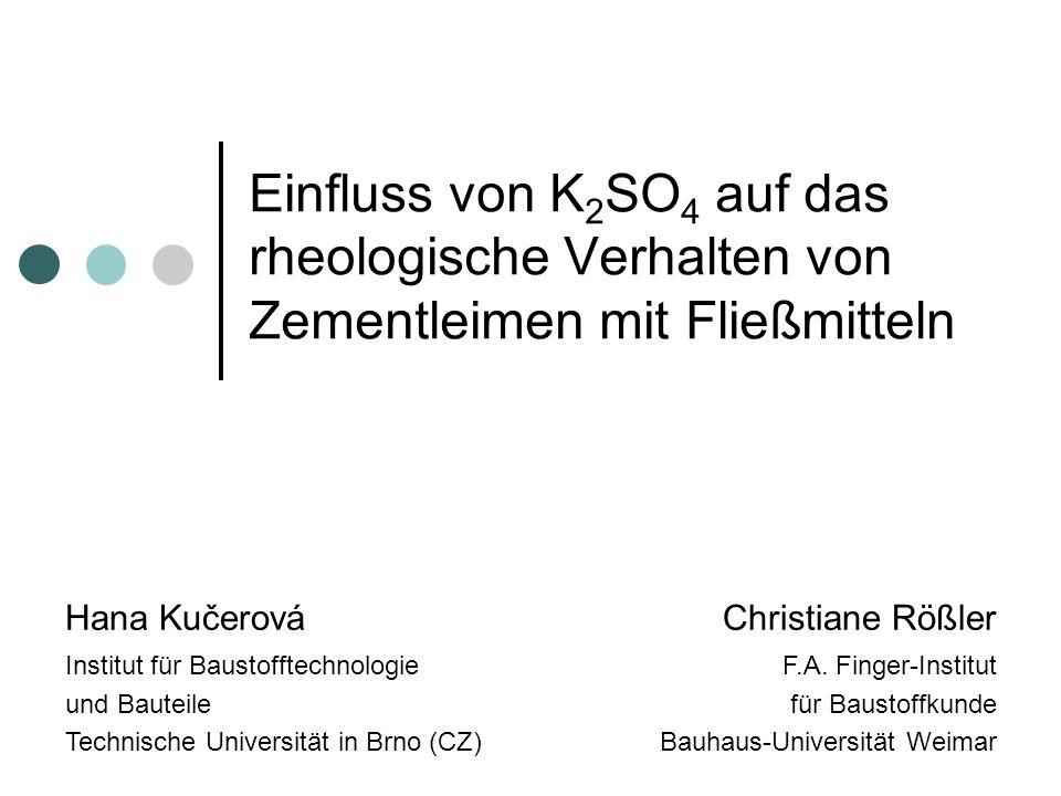 Einfluss von K2SO4 auf das rheologische Verhalten von Zementleimen mit Fließmitteln