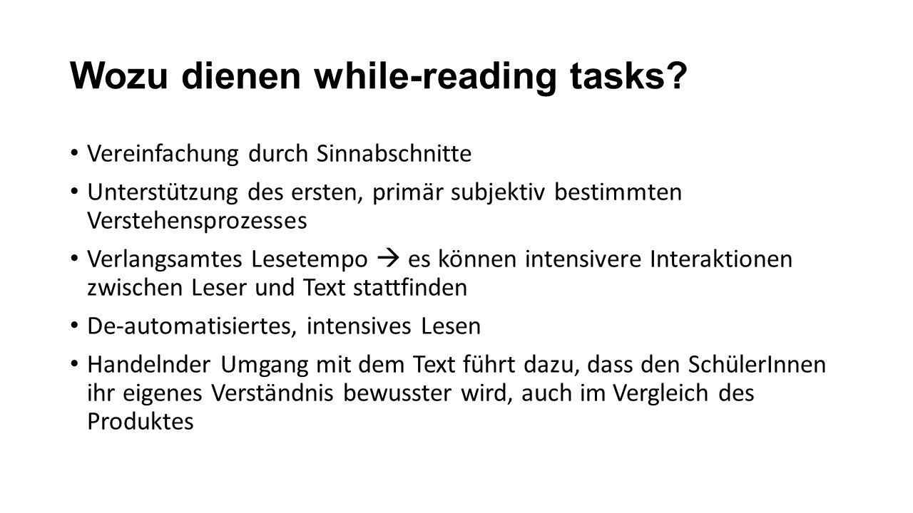 Wozu dienen while-reading tasks
