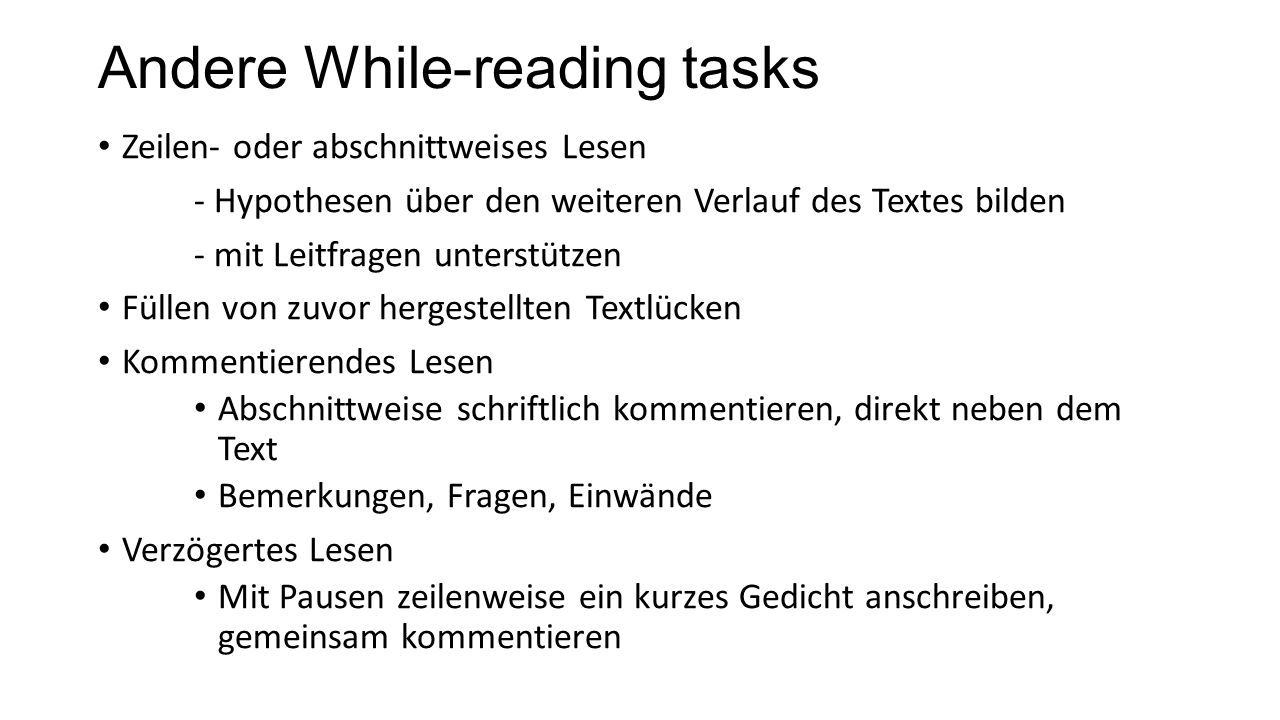 Andere While-reading tasks