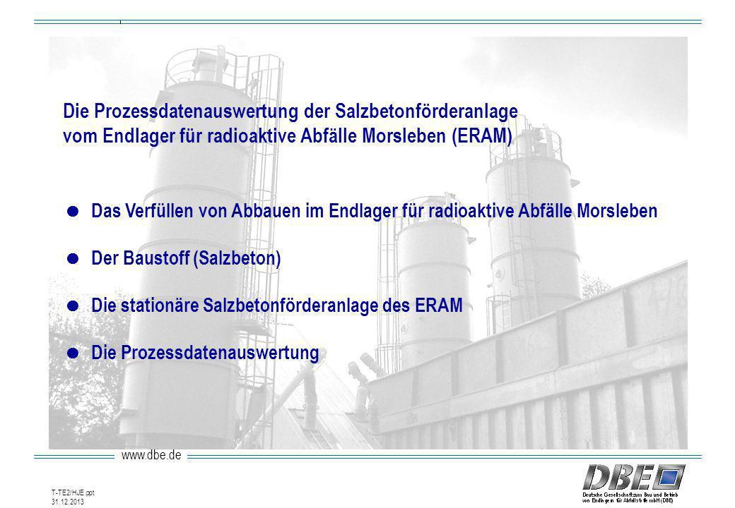 Die Prozessdatenauswertung der Salzbetonförderanlage