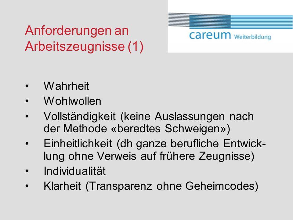Anforderungen an Arbeitszeugnisse (1)