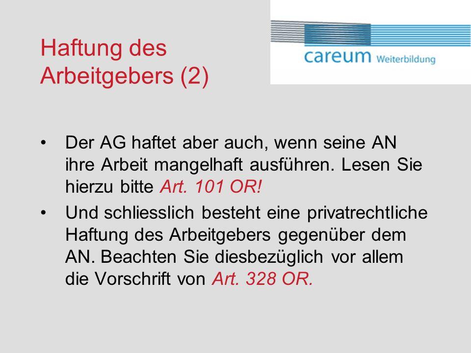 Haftung des Arbeitgebers (2)