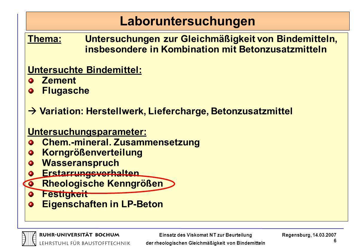Laboruntersuchungen Thema: Untersuchungen zur Gleichmäßigkeit von Bindemitteln, insbesondere in Kombination mit Betonzusatzmitteln.
