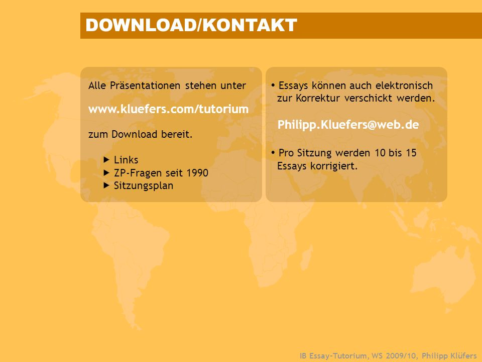 DOWNLOAD/KONTAKT Philipp.Kluefers@web.de www.kluefers.com/tutorium