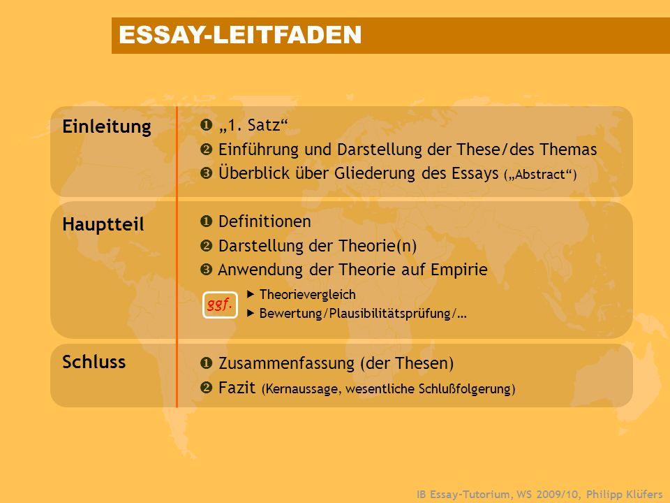 "ESSAY-LEITFADEN Einleitung Hauptteil Schluss  ""1. Satz"