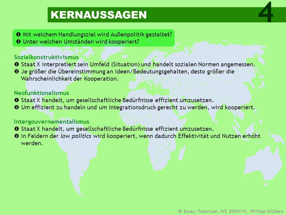 4 KERNAUSSAGEN.  Mit welchem Handlungsziel wird Außenpolitik gestaltet  Unter welchen Umständen wird kooperiert