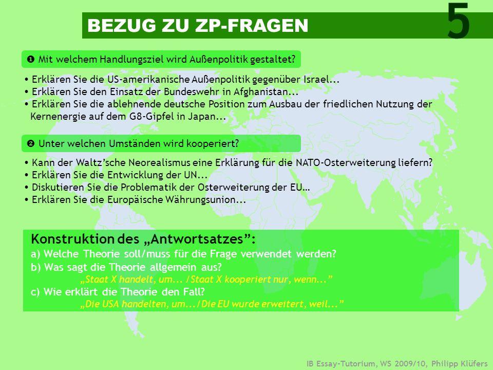 """5 BEZUG ZU ZP-FRAGEN Konstruktion des """"Antwortsatzes :"""
