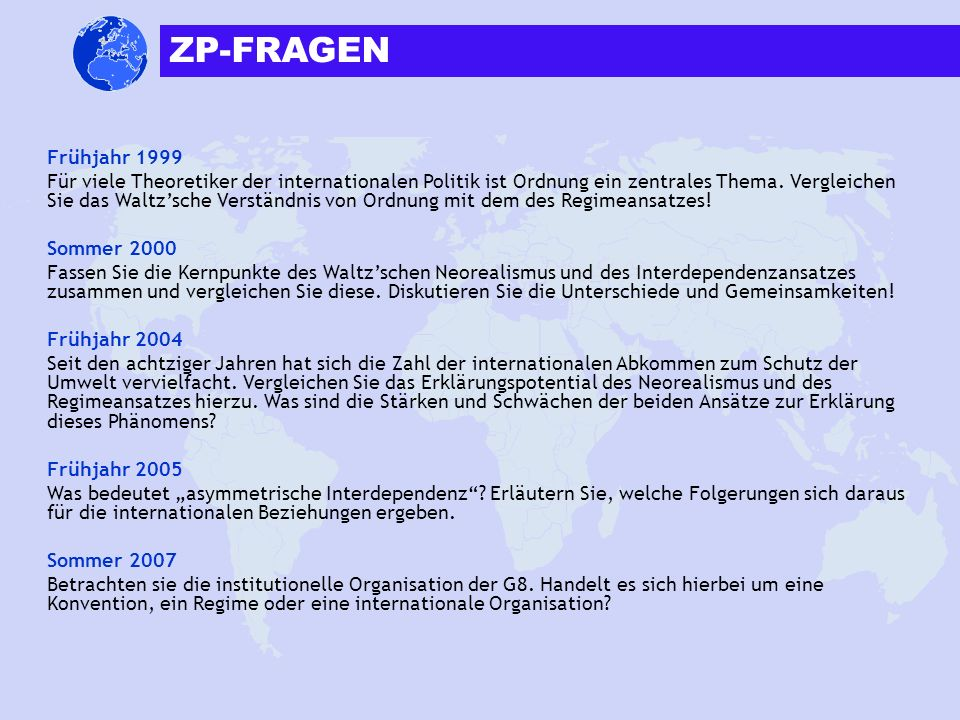 ZP-FRAGEN Frühjahr 1999.