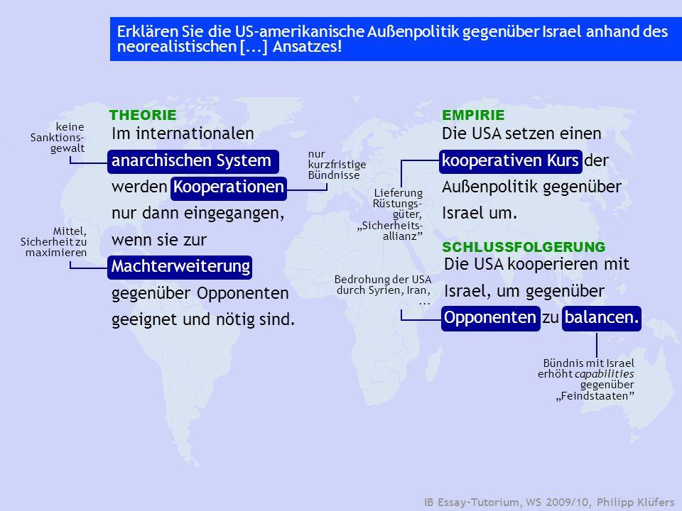 Im internationalen anarchischen System werden Kooperationen