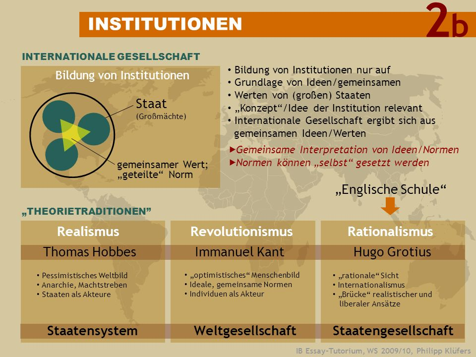 "2 b INSTITUTIONEN Staat ""Englische Schule Realismus Revolutionismus"