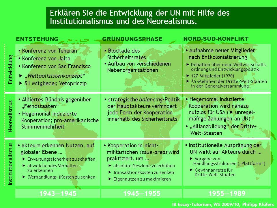 Erklären Sie die Entwicklung der UN mit Hilfe des Institutionalismus und des Neorealismus.